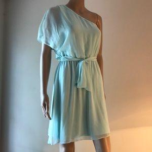 Express PASTEL AQUA lightweight one shoulder Dress
